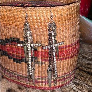 Gypsy Soule Western Rhinestone Cross Earrings